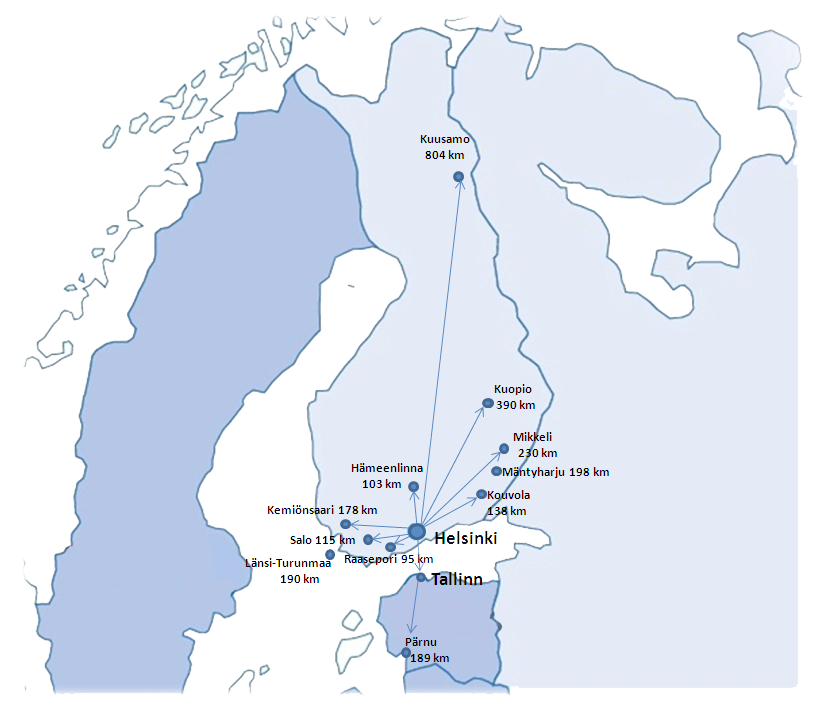 Finland Map distances with most of second homes