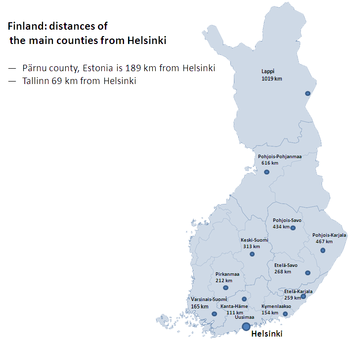 Finland Map main counties dictances from Helsinki